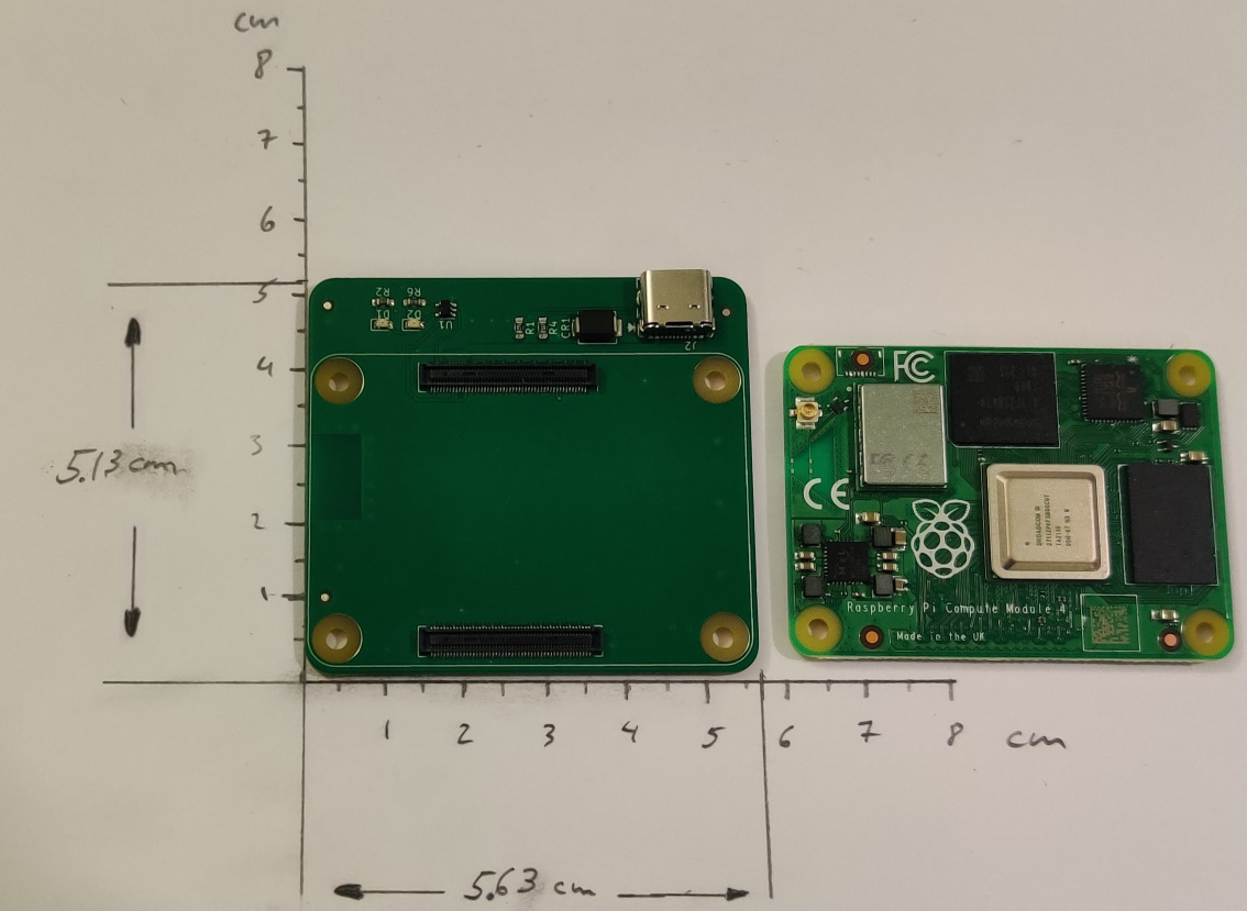 Picture of LiM Carrier Board with CM4 side by side