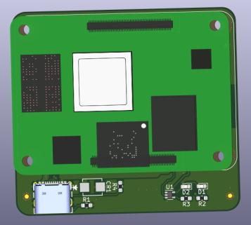 3D RPi CM4 LiM Carrier Board PCB Top